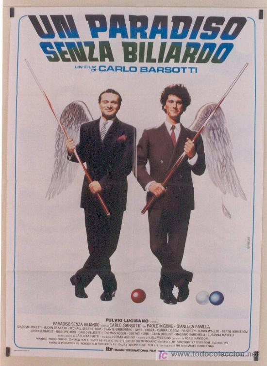 QA25 BILLAR UN PARADISO SENZA BILIARDO POSTER ORIGINAL 100X140 ITALIANO (Cine - Posters y Carteles - Deportes)