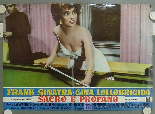JP17 GINA LOLLOBRIGIDA CUANDO HIERVE LA SANGRE POSTER BILLAR ORIGINAL ITALIANO 47X68 (Cine - Posters y Carteles - Deportes)