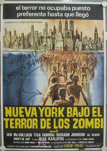JQ81 NUEVA YORK BAJO EL TERROR DE LOS ZOMBI LUCIO FULCI POSTER ORIGINAL 70X100 ESTRENO (Cine - Posters y Carteles - Terror)