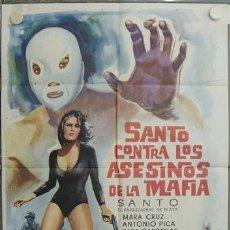 Cine: JR08 SANTO CONTRA LOS ASESINOS DE LA MAFIA ENMASCARADO DE PLATA POSTER ORIGINAL 70X100 ESTRENO. Lote 15193147