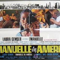 Cine: XV88D EMANUELLE EN AMERICA JOE D'AMATO LAURA GEMSER SEXY DESNUDA POSTER ORIGINAL ITALIANO 68X94. Lote 15260124