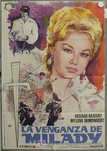 JV84 LA VENGANZA DE MILADY 3 MOSQUETEROS 2 GERARD BARRAY MYLENE DEMONGEOT POSTER ORIG 70X100 ESTRENO (Cine - Posters y Carteles - Aventura)