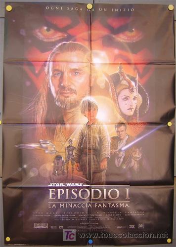 JX24 LA AMENAZA FANTASMA GUERRA DE LAS GALAXIAS STAR WARS POSTER ORIGINAL ITALIANO 100X140 (Cine - Posters y Carteles - Ciencia Ficción)