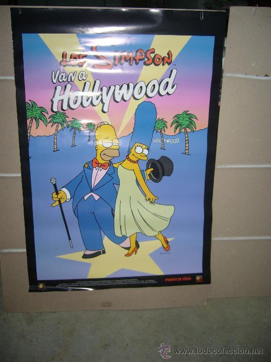 LOS SIMPSON VAN A HOLLYWOOD POSTER ORIGINAL 70X100 DEL ESTRENO EN VIDEO EN 1999 (Cine - Posters y Carteles - Infantil)