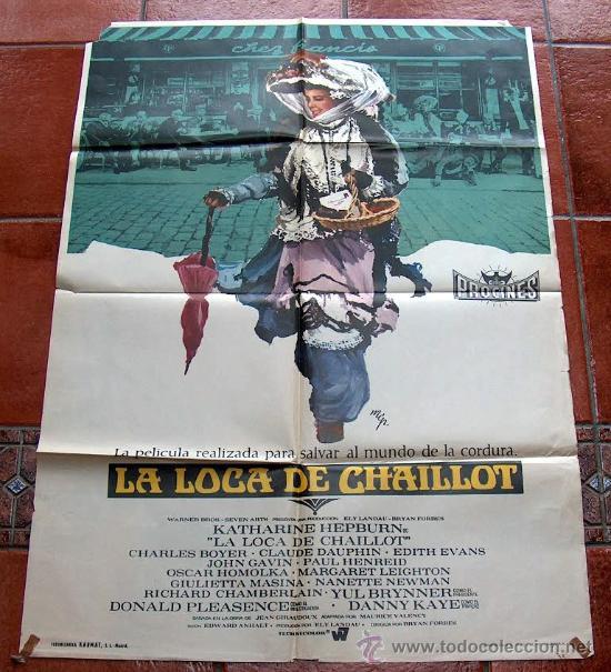 CARTEL POSTER LA LOCA DE CHAILLOT, KATHERINE HEPBURN, CHARLES BOYER. ORIGINAL 70 X 100 AÑO 1969 (Cine - Posters y Carteles - Comedia)