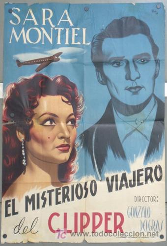 KH40 EL MISTERIOSO VIAJERO DEL CLIPPER SARA MONTIEL POSTER ORIGINAL 70X100 ESPAÑOL LITOGRAFIA (Cine - Posters y Carteles - Clasico Español)