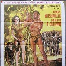 Cine: KL51 LA FUGA DE TARZAN JOHNNY WEISSMULLER POSTER ORIGINAL ITALIANO 100X140. Lote 296595588