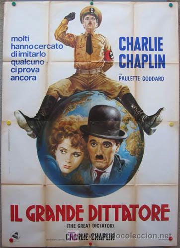 KO06 EL GRAN DICTADOR CHARLES CHAPLIN POSTER ORIGINAL ITALIANO 140X200 (Cine - Posters y Carteles - Comedia)