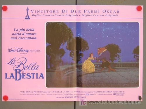QD04 LA BELLA Y LA BESTIA WALT DISNEY SET DE 6 POSTERS ORIGINAL ITALIANO 47X68 (Cine - Posters y Carteles - Infantil)