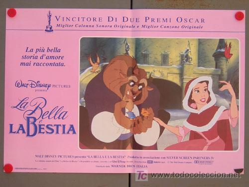 Cine: QD04 LA BELLA Y LA BESTIA WALT DISNEY SET DE 6 POSTERS ORIGINAL ITALIANO 47X68 - Foto 2 - 16401374