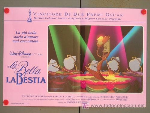 Cine: QD04 LA BELLA Y LA BESTIA WALT DISNEY SET DE 6 POSTERS ORIGINAL ITALIANO 47X68 - Foto 3 - 16401374