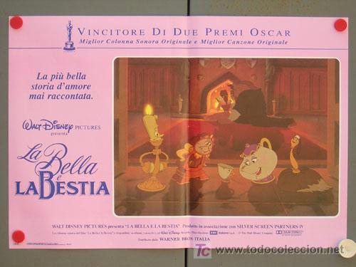 Cine: QD04 LA BELLA Y LA BESTIA WALT DISNEY SET DE 6 POSTERS ORIGINAL ITALIANO 47X68 - Foto 5 - 16401374
