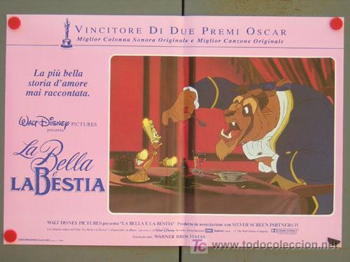 Cine: QD04 LA BELLA Y LA BESTIA WALT DISNEY SET DE 6 POSTERS ORIGINAL ITALIANO 47X68 - Foto 4 - 16401374