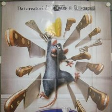 Cine: KQ43 RATATOUILLE ANIMACION WALT DISNY PIXAR POSTER ORIGINAL ITALIANO 100X140. Lote 16435870