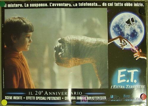Cine: QQ88 E.T. EL EXTRATERRESTRE STEVEN SPIELBERG ESPECTACULAR SET de 8 POSTERS ORIGINAL ITALIANO 47X68 - Foto 2 - 20049827