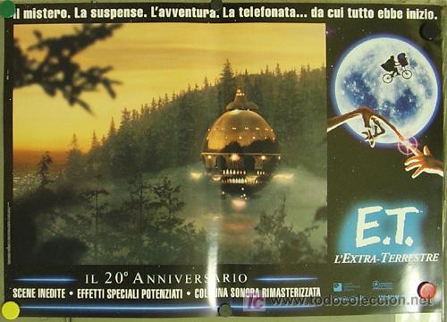 Cine: QQ88 E.T. EL EXTRATERRESTRE STEVEN SPIELBERG ESPECTACULAR SET de 8 POSTERS ORIGINAL ITALIANO 47X68 - Foto 3 - 20049827