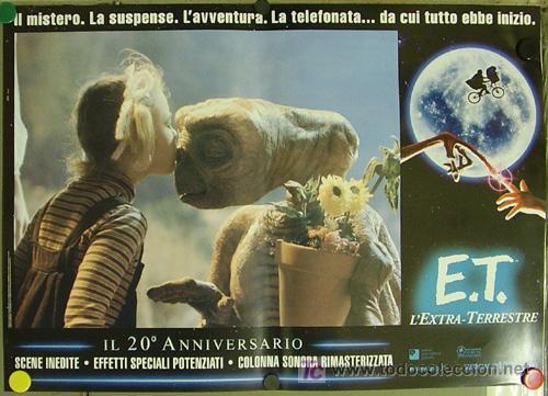 QQ88 E.T. EL EXTRATERRESTRE STEVEN SPIELBERG ESPECTACULAR SET DE 8 POSTERS ORIGINAL ITALIANO 47X68 (Cine - Posters y Carteles - Ciencia Ficción)
