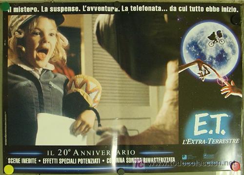 Cine: QQ88 E.T. EL EXTRATERRESTRE STEVEN SPIELBERG ESPECTACULAR SET de 8 POSTERS ORIGINAL ITALIANO 47X68 - Foto 5 - 20049827