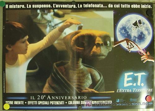Cine: QQ88 E.T. EL EXTRATERRESTRE STEVEN SPIELBERG ESPECTACULAR SET de 8 POSTERS ORIGINAL ITALIANO 47X68 - Foto 6 - 20049827