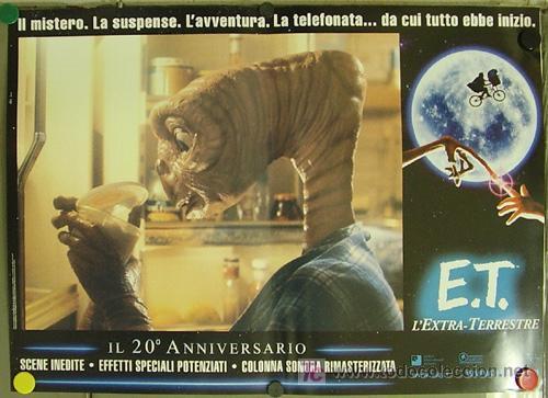 Cine: QQ88 E.T. EL EXTRATERRESTRE STEVEN SPIELBERG ESPECTACULAR SET de 8 POSTERS ORIGINAL ITALIANO 47X68 - Foto 4 - 20049827