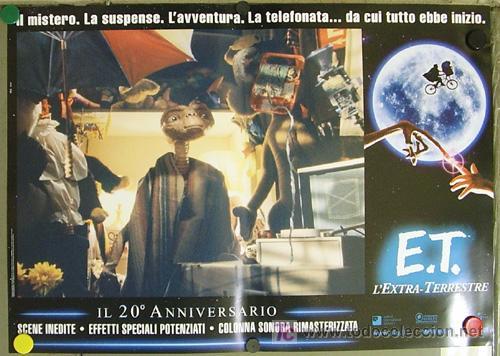 Cine: QQ88 E.T. EL EXTRATERRESTRE STEVEN SPIELBERG ESPECTACULAR SET de 8 POSTERS ORIGINAL ITALIANO 47X68 - Foto 7 - 20049827