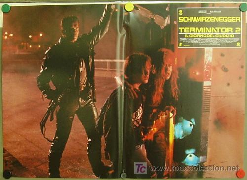 Cine: QM58 TERMINATOR 2 ARNOLD SCHWARZENEGGER JAMES CAMERON SET de 8 POSTERS ORIGINAL ITALIANO 47X68 - Foto 5 - 20150950