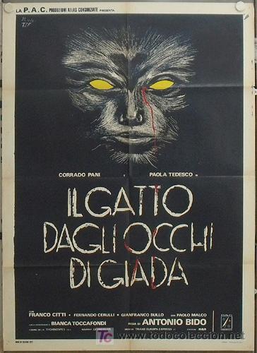 KR95 GATTO DAGLI OCCHI DI GIADA / THE CAT WITH THE JADE EYES GIALLO POSTER ORIGINAL ITALIANO 100X140 (Cine - Posters y Carteles - Terror)