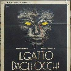 Cine: KR95 GATTO DAGLI OCCHI DI GIADA / THE CAT WITH THE JADE EYES GIALLO POSTER ORIGINAL ITALIANO 100X140. Lote 16467910