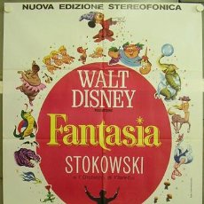 Cine: QB83 FANTASIA WALT DISNEY MICKEY MOUSE POSTER ORIGINAL 100X140 ITALIANO. Lote 16642021