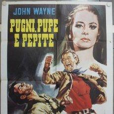 Cine: KS65 ALASKA TIERRA DE ORO JOHN WAYNE CAPUCINE STEWART GRANGER POSTER ORIGINAL ITALIANO 100X140. Lote 16644262