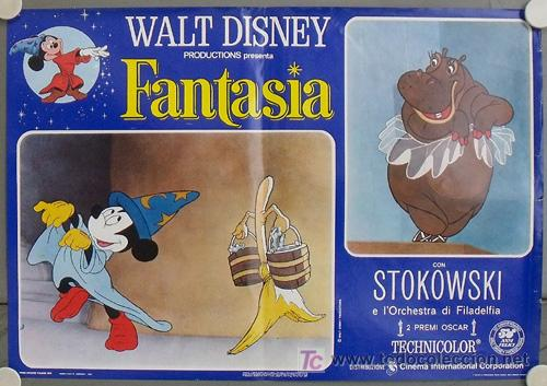 KS89 FANTASIA WALT DISNEY SET DE 8 POSTERS ORIGINAL ITALIANO 47X68 (Cine - Posters y Carteles - Infantil)