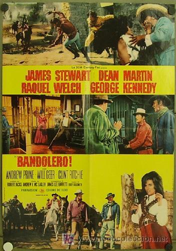 KT79 BANDOLERO JAMES STEWART RAQUEL WELCH DEAN MARTIN POSTER ORIGINAL ITALIANO 68X94 (Cine - Posters y Carteles - Westerns)