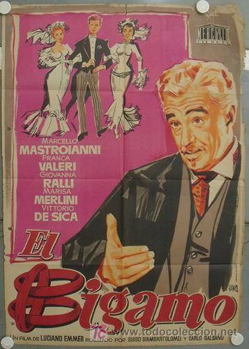 KY52 EL BIGAMO VITTORIO DE SICA MARCELLO MASTROIANNI JANO POSTER ORIGINAL 70X100 LITOGRAFIA ESTRENO (Cine - Posters y Carteles - Comedia)