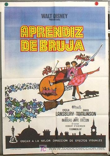 KY76 LA BRUJA NOVATA WALT DISNEY POSTER 70X100 ORIGINAL ESTRENO TITULO CAMBIADO (Cine - Posters y Carteles - Deportes)