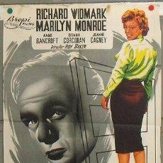 Cine: KZ26 NIEBLA EN EL ALMA MARILYN MONROE RICHARD WIDMARK POSTER ORIGINAL 70X100 LITOGRAFIA. Lote 17175766