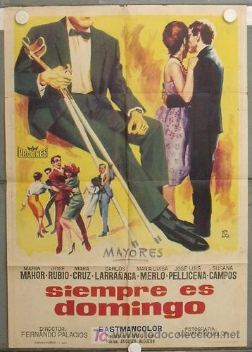 KZ32 SIEMPRE ES DOMINGO MARIA MAHOR POSTER ORIGINAL ESTRENO 70X100 (Cine - Posters y Carteles - Clasico Español)