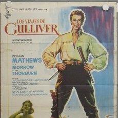 Cine: LA34 LOS VIAJES DE GULLIVER RAY HARRYHAUSEN KERWIN MATHEWS POSTER ORIGINAL 70X100 ESTRENO. Lote 17202851