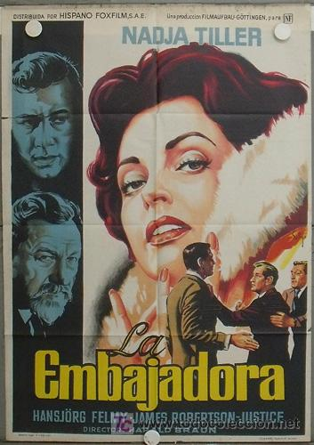 LA59 LA EMBAJADORA NADJA TILLER POSTER ORIGINAL DE SOLIGO 70X100 DEL ESTRENO LITOGRAFIA (Cine- Posters y Carteles - Drama)