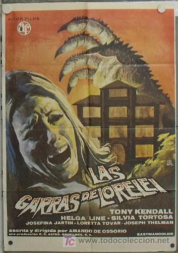 LD07 LAS GARRAS DE LORELEI AMANDO DE OSSORIO POSTER ORIGINAL 70X100 ESTRENO (Cine - Posters y Carteles - Terror)