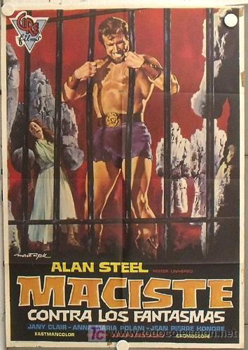LN00 MACISTE CONTRA LOS FANTASMAS ALAN STEEL PEPLUM POSTER ORIGINAL 70X100 ESTRENO (Cine - Posters y Carteles - Terror)