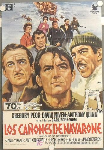 LT45 LOS CAÑONES DE NAVARONE GREGORY PECK JANO POSTER ORIGINAL 70X100 ESPAÑOL (Cine - Posters y Carteles - Bélicas)