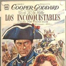 Cine: LT50 LOS INCONQUISTABLES GARY COOPER DEMILLE PAULETTE GODDARD ALVARO POSTER ORIG 70X100 ESPAÑOL R-66. Lote 17911589