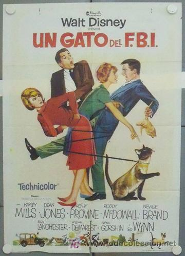LU85 UN GATO DEL FBI HAYLEY MILLS WALT DISNEY POSTER ORIGINAL ESTRENO 70X100 (Cine - Posters y Carteles - Infantil)