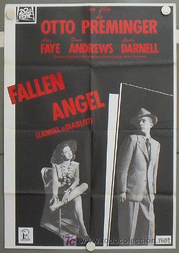 LV22 ANGEL O DIABLO ALICE FAYE DANA ANDREWS LINDA DARNELL POSTER ORIGINAL ESPAÑOL 70X100 R-89 (Cine - Posters y Carteles - Suspense)