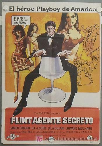 LV78 FLINT AGENTE SECRETO JAMES COBURN POSTER ORIGINAL 70X100 ESPAÑOL (Cine - Posters y Carteles - Suspense)