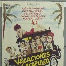 Cine: LX87 VACACIONES EN ACAPULCO ANTONIO AGUILAR ARIADNA WELTER POSTER ORIGINAL 70X100 ESTRENO. Lote 18040704