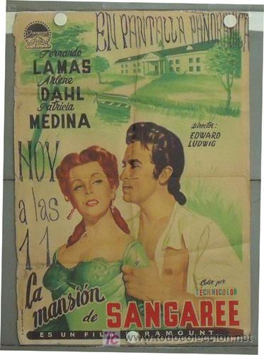 LY99 LA MANSION DE SANGAREE ARLENE DAHL FERNANDO LAMAS POSTER ORIGINAL 70X100 ESTRENO LITOGRAFIA (Cine - Posters y Carteles - Aventura)