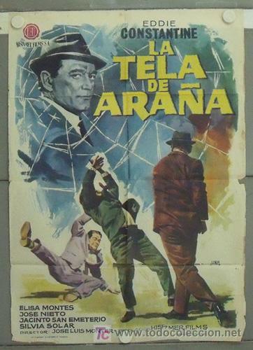 LZ38 LA TELA DE ARAÑA EDDIE CONSTANTINE JANO POSTER ORIGINAL 70X100 ESTRENO (Cine - Posters y Carteles - Acción)