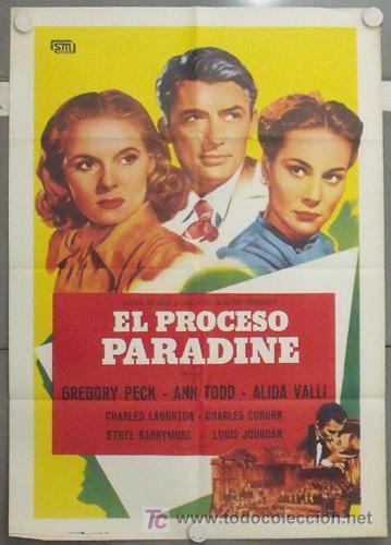 MB74 EL PROCESO PARADINE ALFRED HITCHCOCK GREGORY PECK ALIDA VALLI POSTER ORIGINAL 70X100 ESPAÑOL (Cine - Posters y Carteles - Suspense)