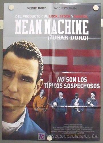 MC31 JUGAR DURO / MEAN MACHINE VINNIE JONES FUTBOL POSTER ORIGINAL 70X100 ESTRENO (Cine - Posters y Carteles - Deportes)